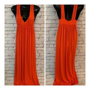 J Crew Jersey Knit Orange Maxi Tank Dress Sz S